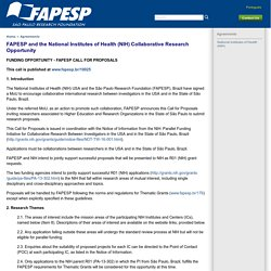 Agreements - FAPESP and the National Institutes of Health (NIH) Collaborative Research Opportunity