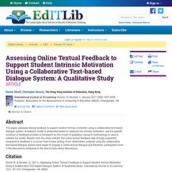 Assessing Online Textual Feedback to Support Student Intrinsic Motivation Using a Collaborative Text-based Dialogue System: A Qualitative Study