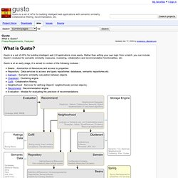 Gusto - gusto - What is Gusto? - Gusto is a set of APIs for building intelligent web applications with semantic similarity, collaborative filtering, recommandation, etc.