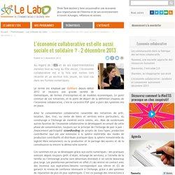 L'économie collaborative est-elle aussi sociale et solidaire ? - 2 décembre