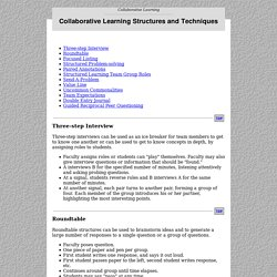 Collaborative Learning Structures and Techniques