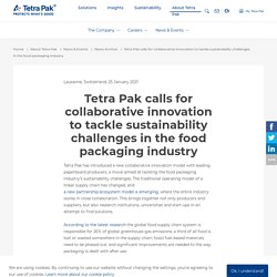 Tetra Pak calls for collaborative innovation to tackle sustainability challenges