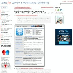 Dropbox cheat sheet, 6 steps to a collaborative culture, iPads in the classroom
