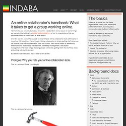 An online collaborator's handbook: What it takes to get a group working online. : Indaba