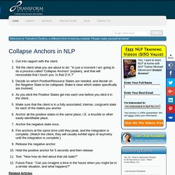 NLP Collapse Anchors - Free NLP Guide from Transform Destiny - Live NLP and Hypnosis Trainings and Seminars