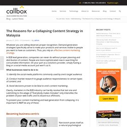 The Reasons for a Collapsing Content Strategy in Malaysia