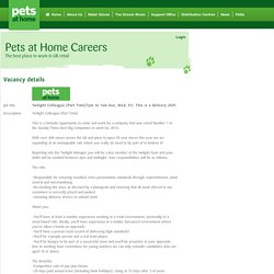 Twilight Colleague (Part Time)7pm to 1am Sun, Wed, Fri. This is a delivery shift – Aylesbury, Buckinghamshire - Pets At Home