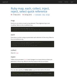 Ruby map, each, collect, inject, reject, select quick reference