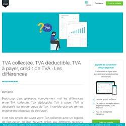 TVA collectée, TVA déductible, TVA à payer, crédit de TVA
