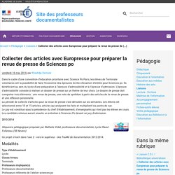 Collecter des articles avec Europresse pour préparer la revue de presse de Sciences po