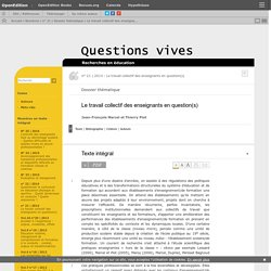 Le travail collectif des enseignants en question(s)