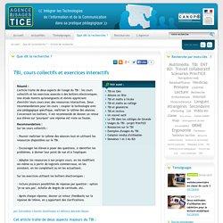 L'Agence nationale des Usages des TICE - TBI, cours collectifs et exercices interactifs