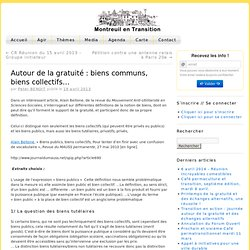 Autour de la gratuité : biens communs, biens collectifs… » Montreuil en Transition