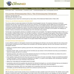 Collecting Ethnographic Data: The Ethnographic Interview — EthnoMed