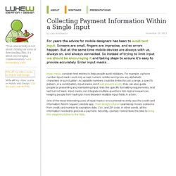 Collecting Payment Information Within a Single Input