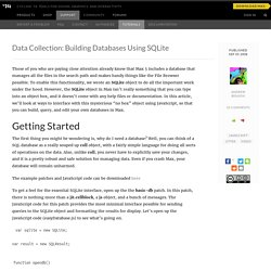 Data Collection: Building Databases Using SQLite