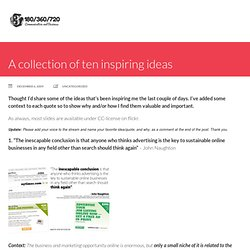 A collection of ten inspiring ideas