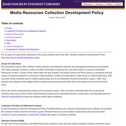 Media Resources Collection Development Policy