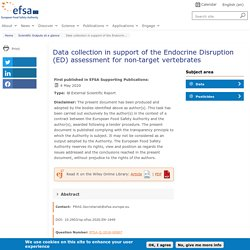 EFSA 04/05/20 Data collection in support of the Endocrine Disruption (ED) assessment for non‐target vertebrates