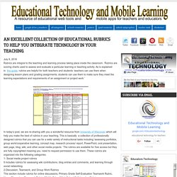 An Excellent Collection of Educational Rubrics to Help You Integrate Technology in Your Teaching