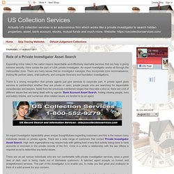 US Collection Services: Role of a Private Investigator Asset Search