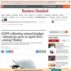 CGST collection missed budget estimate by 40% in April-Nov: Anurag Thakur
