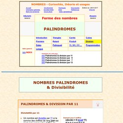 collection de nombres, palindrome et division