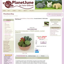 Succulent Collection 1: FOUR realistic crochet patterns : PlanetJune Shop, cute and realistic crochet patterns & more