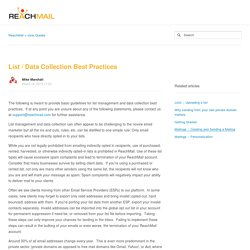 List / Data Collection Best Practices – ReachMail