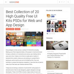 Best Collection of 20 High Quality Free UI Kits PSDs for Web and App Design - Geeks ZineGeeks Zine
