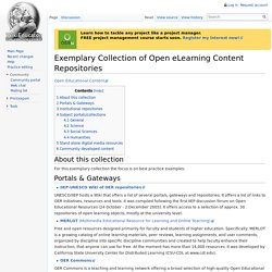 Exemplary Collection of Open eLearning Content Repositories