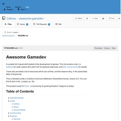 Calinou/awesome-gamedev: A collection of free software and free culture resources for making amazing games. - NotABug.org: Free code hosting