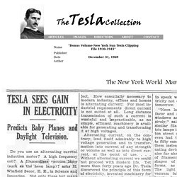 """The Tesla Collection"" - ""Bonus Volume-New York Sun Tesla Clipping File 1930-1945"". ,"