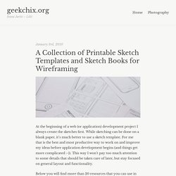 A Collection of Printable Sketch Templates and Sketch Books for Wireframing