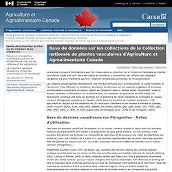 AGRICULTURE CANADA - Base de données canadienne sur Phragmites - Notes d'utilisation