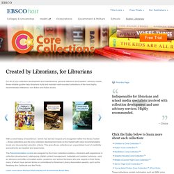 "Core Collections - ""...these reliable guides help librarians build and maintain well-rounded collections of the most highly recommended reference, non-fiction and fiction books."""