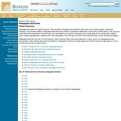 BPL: Historical Newspaper Directories