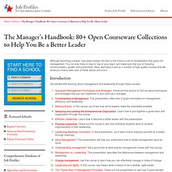 The Manager's Handbook: 80+ Open Courseware Collections to Help You Be a Better Leader