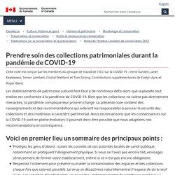 Prendre soin des collections patrimoniales durant la pandémie de COVID-19