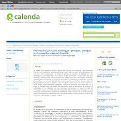 Patrimoine et collections numériques : politiques, pratiques professionnelles, usages et dispositifs
