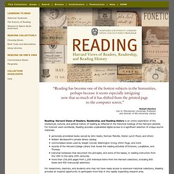 Reading - Harvard Views of Readers, Readership, and Reading History