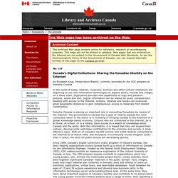 Canada's Digital Collections - Sharing the Canadian Identity on the Internet - The Archivist - Publications