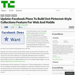 Unpinned: Facebook Shuts Down Test Of Its Pinterest-Style Collections Feature