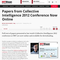 Papers from Collective Intelligence 2012 Conference Now Online