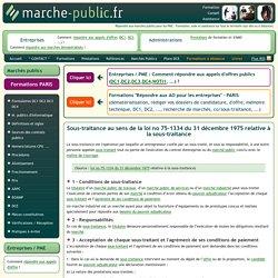 Sous traitance Sous traitant Consultant collectivite Audit Marches publics informatique definition