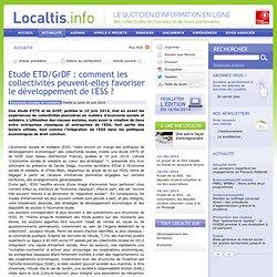Etude ETDGrDF : comment les collectivités peuvent-elles favoriser le développement de l'ESS