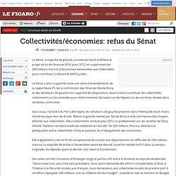 Flash Eco : Collectivités/économies: refus du Sénat
