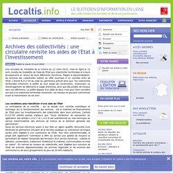 Archives des collectivités : une circulaire revisite les aides de l'Etat à l'investissement
