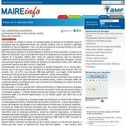Les collectivités cherchent à promouvoir le bio et les circuits courts dans les cantines- Maire-info / AMF