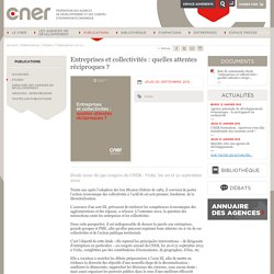 Entreprises et collectivités : quelles attentes réciproques ?